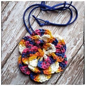 handmade crochet flower statement necklace